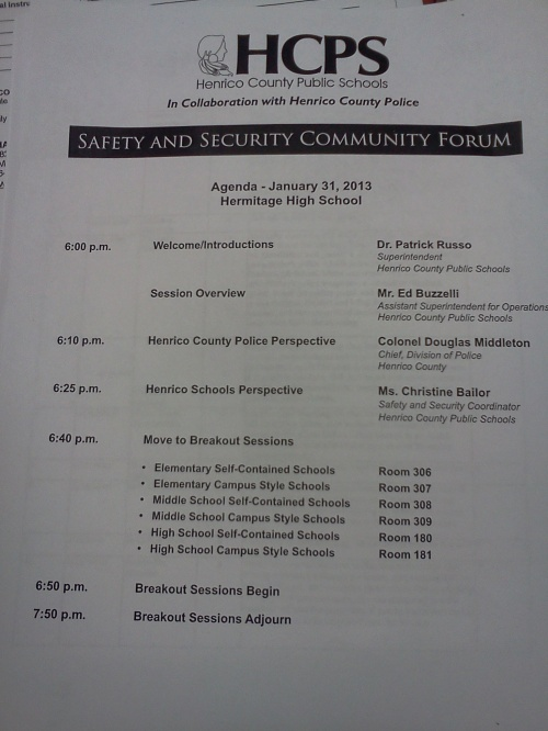 Agenda for the HCPS Safety and Security Forum 2013