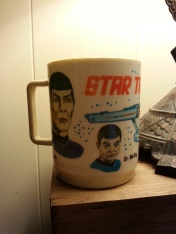 "Definitive proof that I'm a trekkie.  This is the actual, vintage Star Trek mug that I think I mail-ordered from the back of a cereal box in 70s.  On the bottom it says, ""DEKA Elizabeth NJ 14  269  Made in USA"""