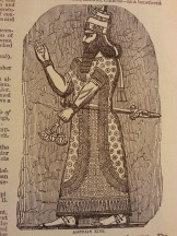 "An Assyrian priest-king from Smith's Bible Dictionary. What is that, a ""Karate chop?"""