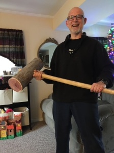 This is me holding my giant mallet. I made it for working out, not for Donkey Kong cosplay.